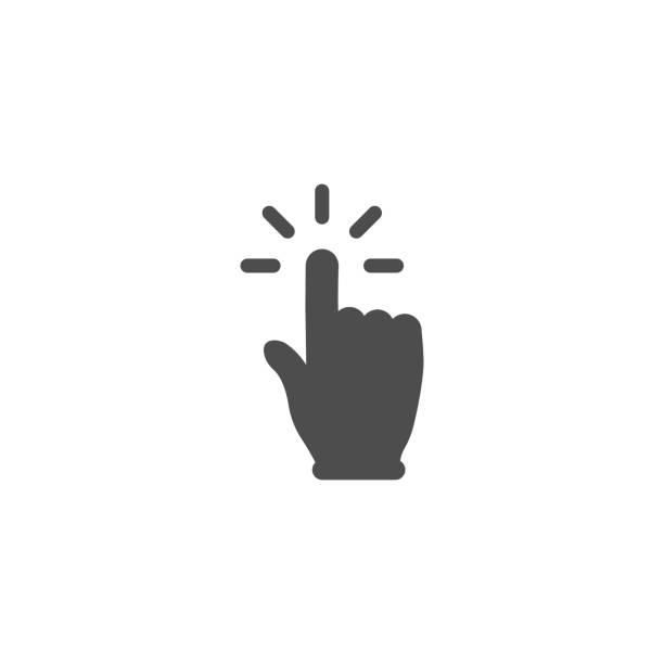 Hand click button simple design vector art illustration