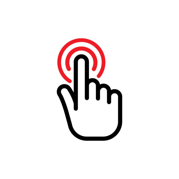 Hand click button. Hand click button. Hand clicking icon. Vector Illustration. Isolate on white background pointing stock illustrations