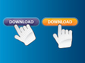 Hand click download button. User interface internet or web site.