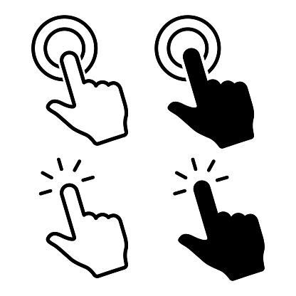Hand click icon. Hand clicking. Vector