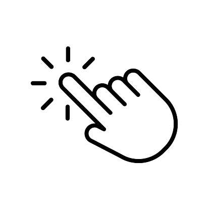 Hand click icon in trendy outline style design. Vector graphic illustration. click symbol for website design, logo, app, and ui.