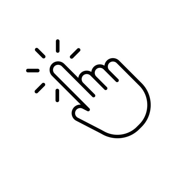 Hand click icon in trendy outline style design. Vector graphic illustration. click symbol for website design, logo, app, and ui Hand click icon in trendy outline style design. Vector graphic illustration. click symbol for website design, logo, app, and ui. hand stock illustrations