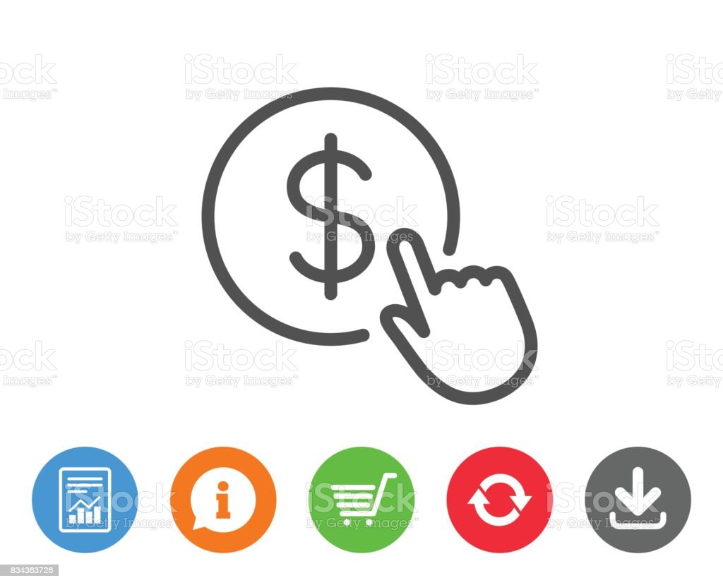 Hand Click line icon. Currency exchange sign. vector art illustration