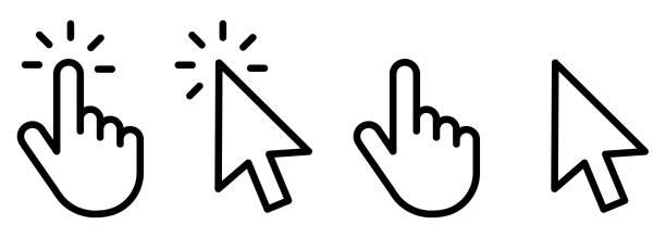 ilustraciones, imágenes clip art, dibujos animados e iconos de stock de haga clic manualmente en la colección de iconos. icono de clic de puntero. diseño de iconos de mano. el conjunto de iconos del cursor de mano hace clic y los iconos del cursor hacen clic. haga clic en el icono del cursor. - física