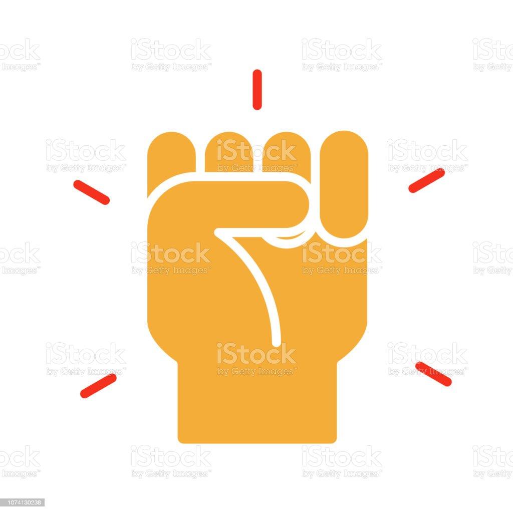 Hand Geschlossen Faustsymbol Vektor Trendigen Flachen Glyphe Icon