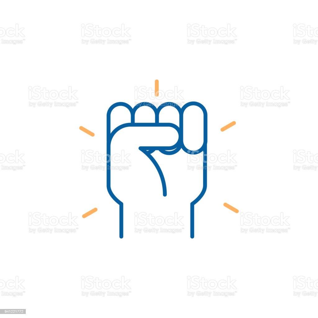 Hand Geschlossen Faustsymbol Vektor Trendige Dünne Linie Icon
