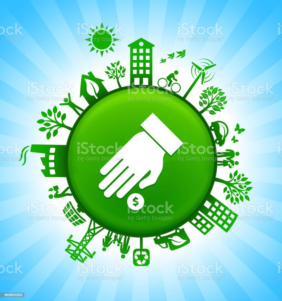 Hand & Coin Environment Green Button Background on Blue Sky - Royalty-free Alternative Energy stock vector