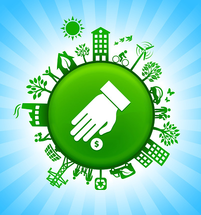 Hand Coin Environment Green Button Background On Blue Sky Stock Illustration - Download Image Now