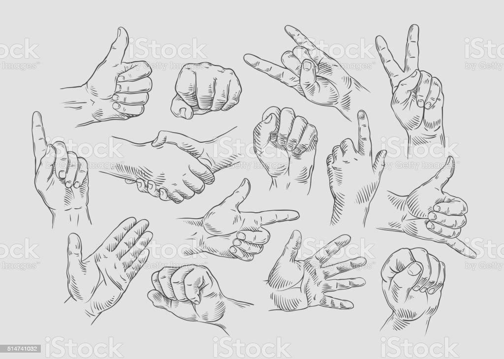 Hand collection - vector line illustration vector art illustration