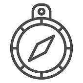 Hand compass line icon. Business direction compass with arrow symbol, outline style pictogram on white background. Marketing strategy sign for mobile concept and web design. Vector graphics