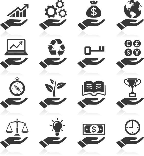 Hand Konzept-Symbole. – Vektorgrafik