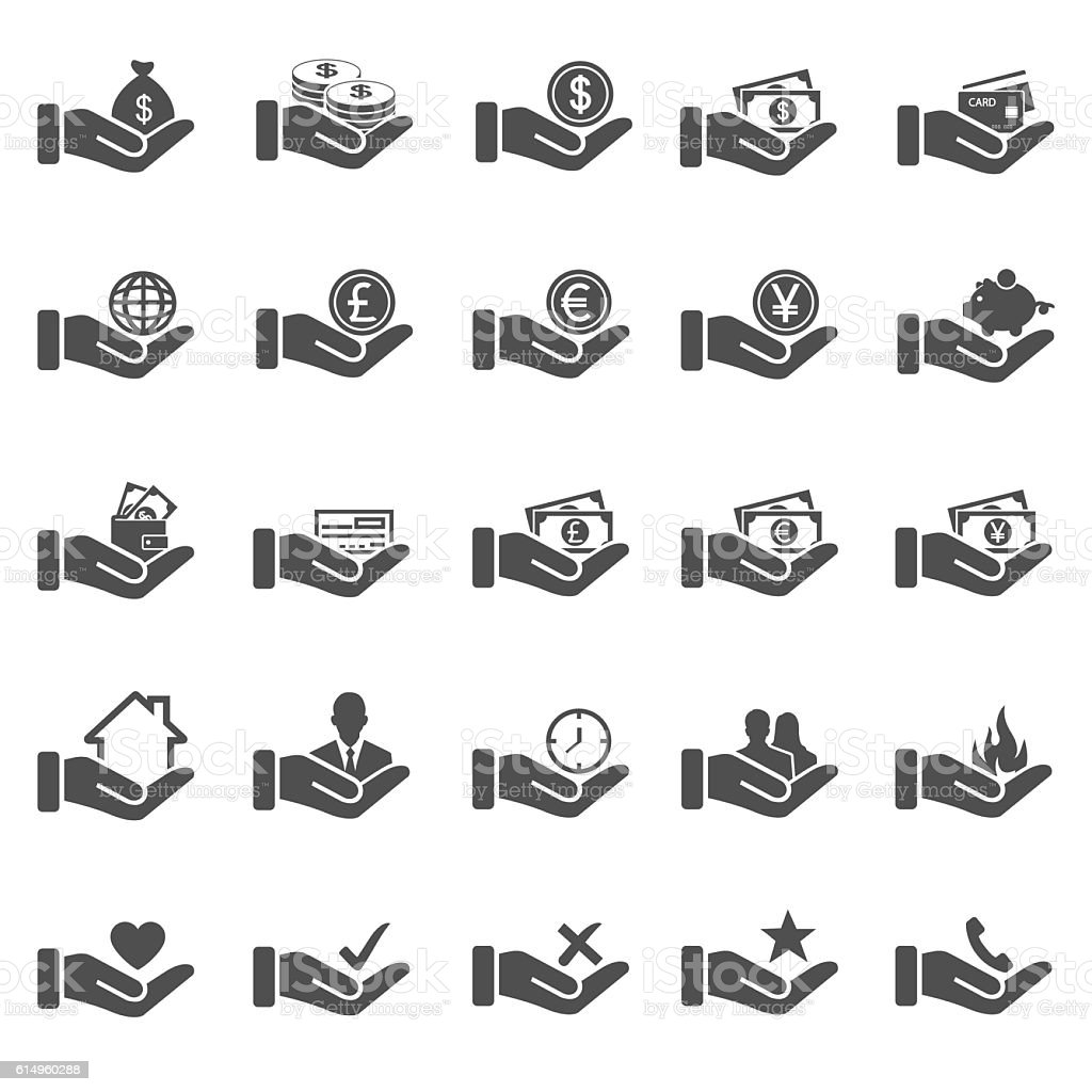 Hand concept icons vector art illustration