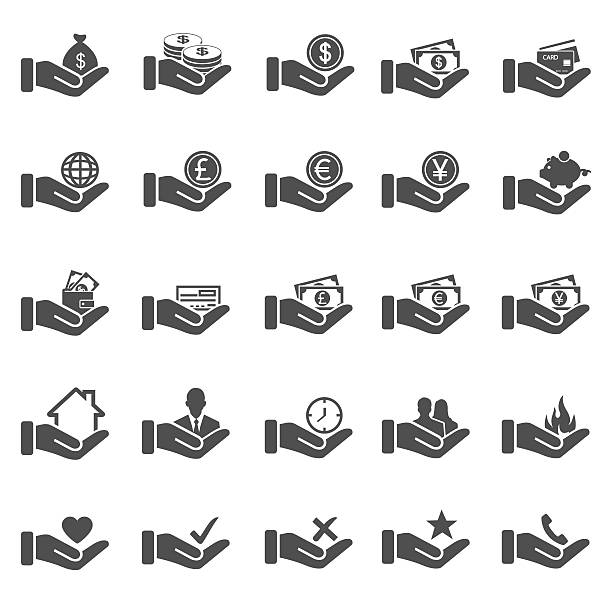Hand concept icons Hand concept icons british currency stock illustrations