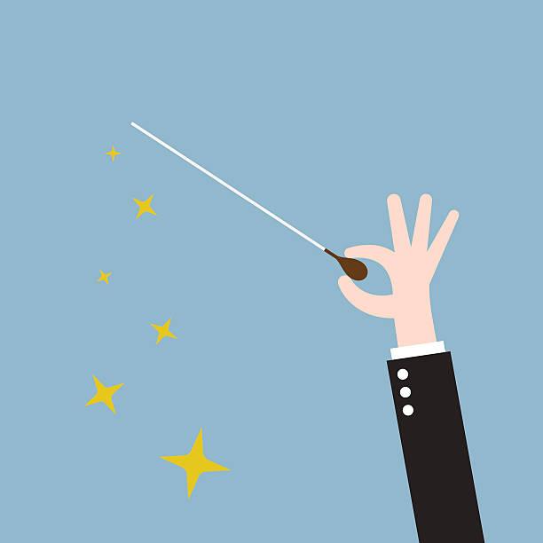 hand-dirigent-stöckchen - bandleader stock-grafiken, -clipart, -cartoons und -symbole