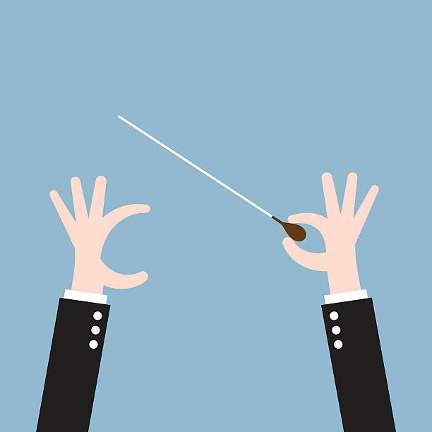 bildbanksillustrationer, clip art samt tecknat material och ikoner med hand conductor baton - orkester