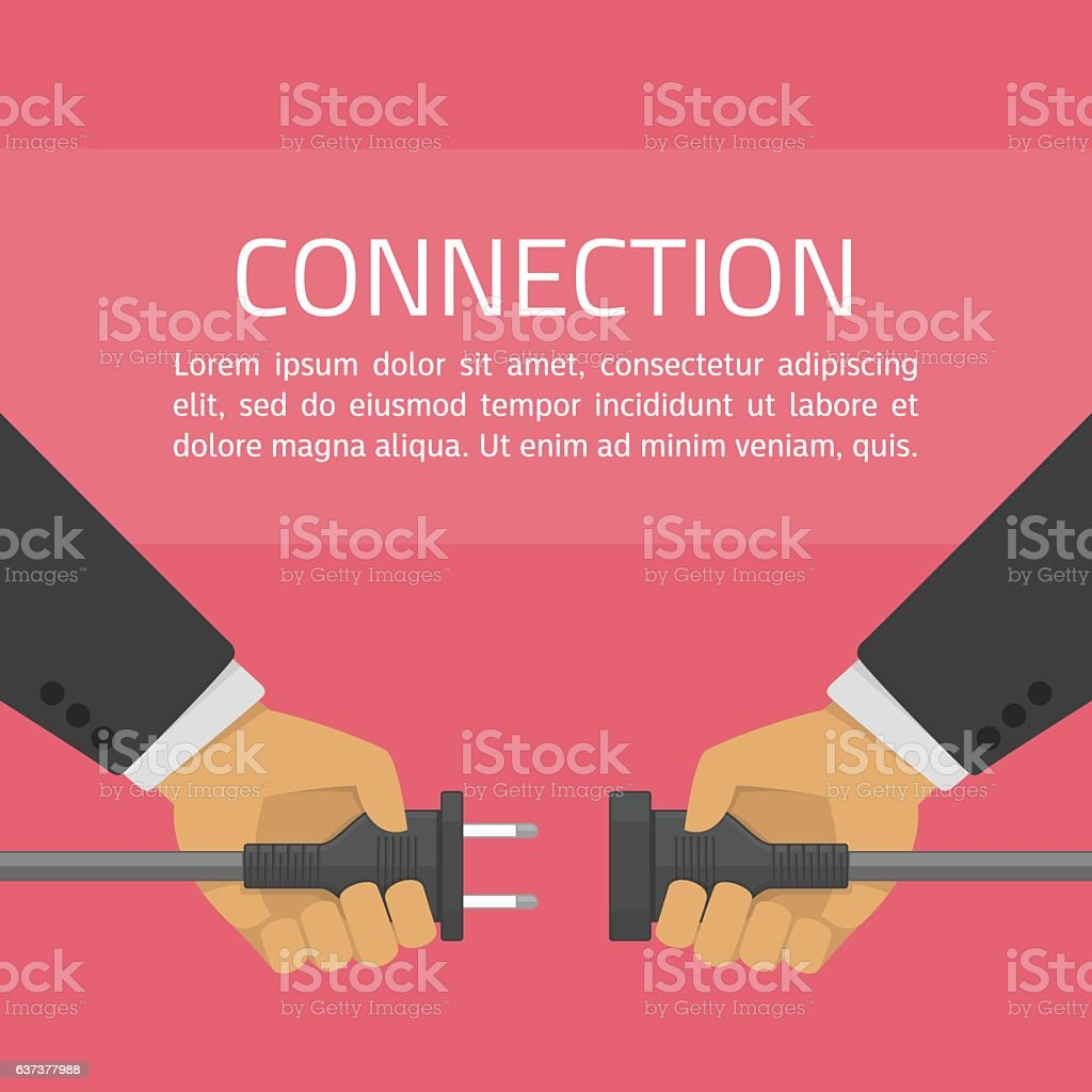 Hand connect plug. vector art illustration