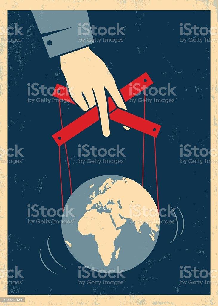 hand controls Earth vector art illustration