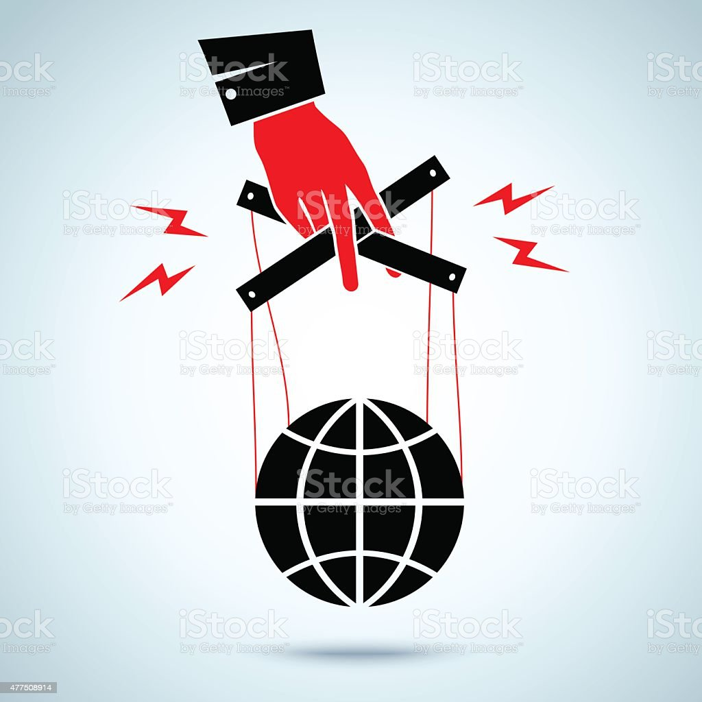 hand controls the globe vector art illustration