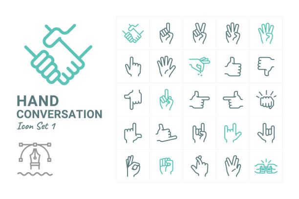 hand conversation - znak ręką stock illustrations