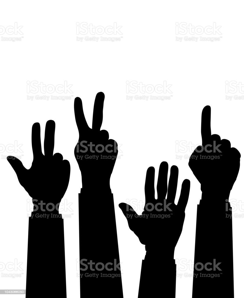 Hand Count Flat Finger And Number Isolated On White Background ...