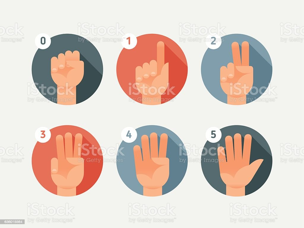 Hand count. Flat finger and number vector art illustration