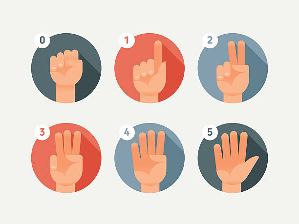 Hand count. Flat finger and number Hand count. Flat finger and number. One, two, three, four, five.. counting stock illustrations