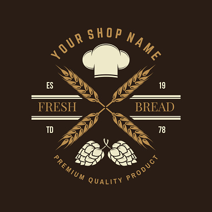 Hand crafted bread badge, logo. Vector. Typography design with dough, hop and chef hat silhouette. Template for restaurant identity objects, packaging and menu
