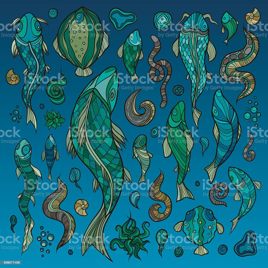 Hand crafted collection of fishes and creatures vector art illustration