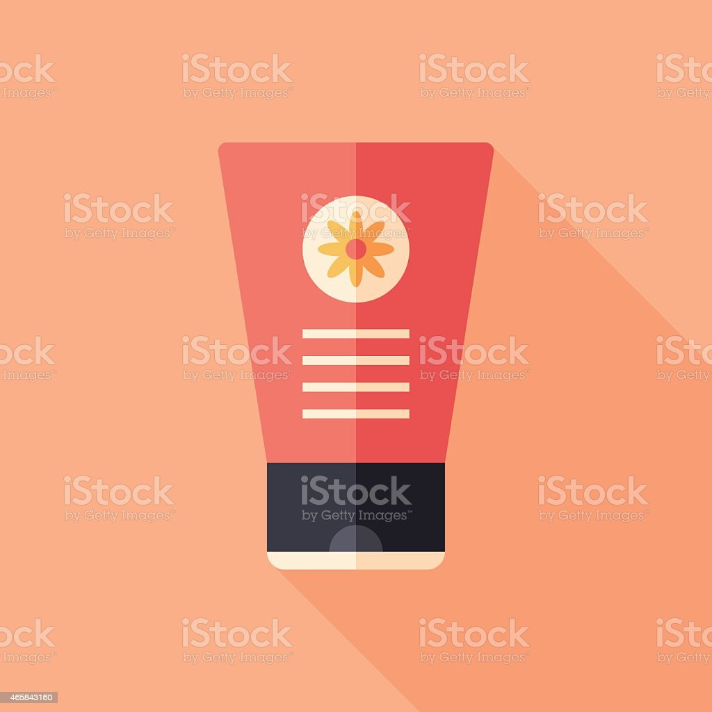 Hand cream with chamomile flat square icon with long shadows. vector art illustration