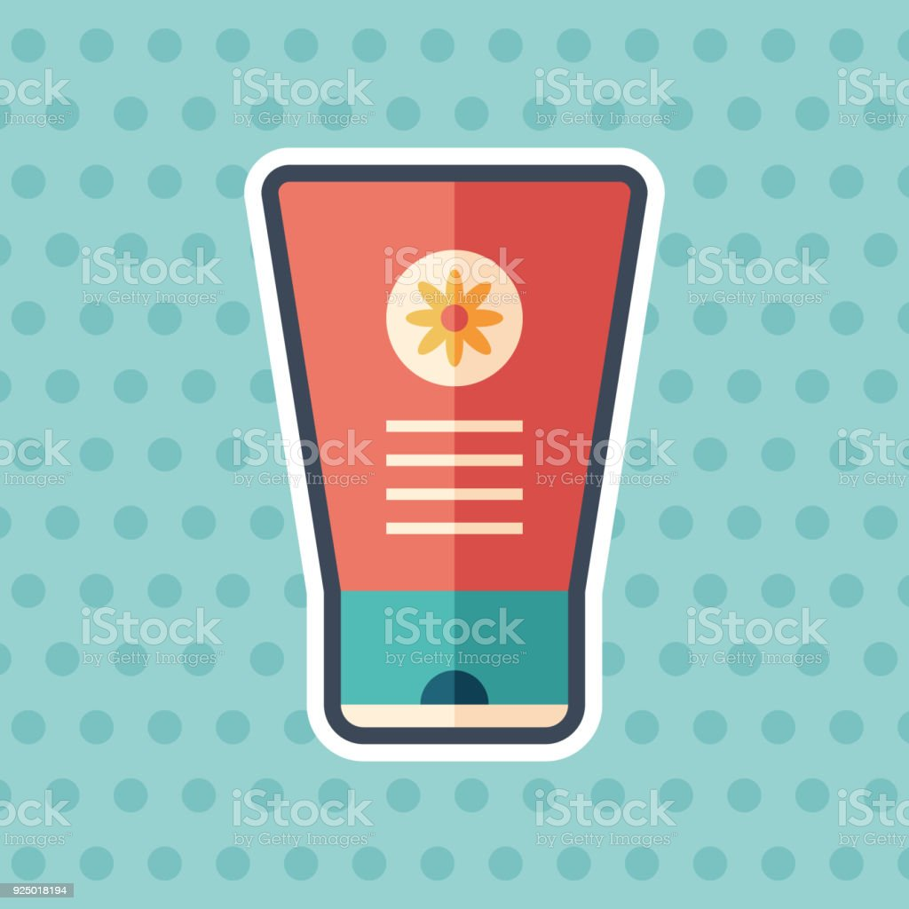 Hand cream with chamomile sticker flat icon with color background. vector art illustration