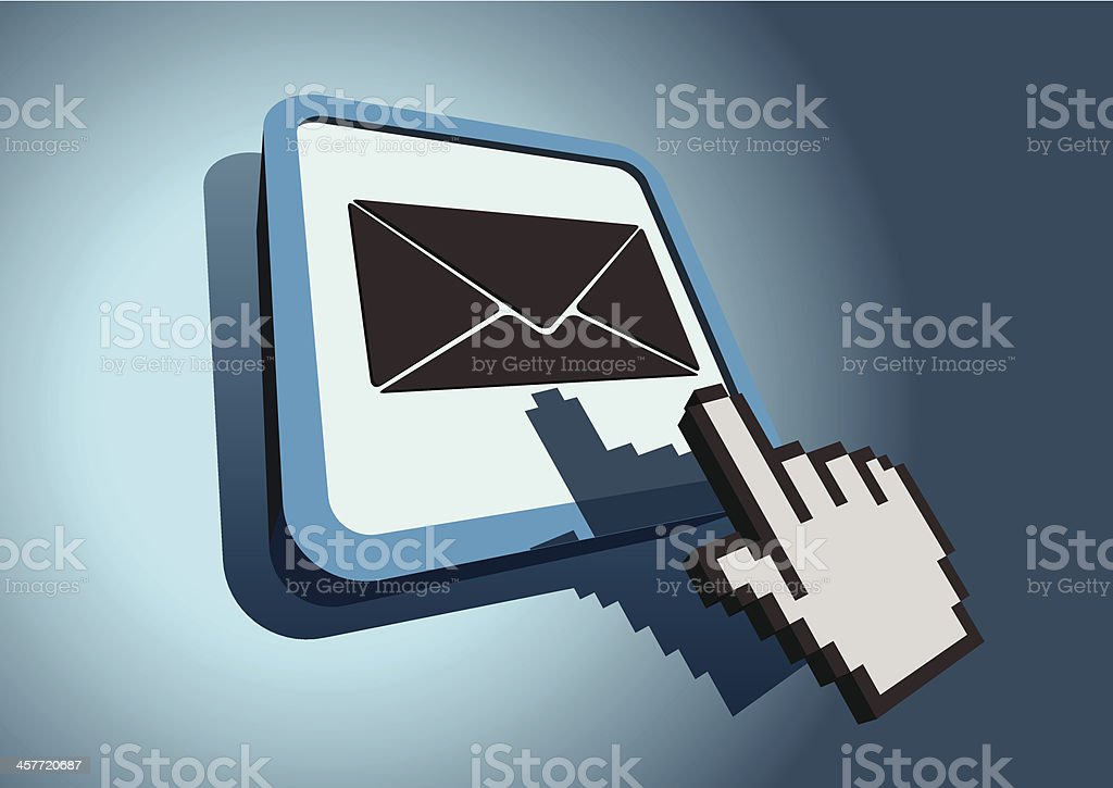 Hand cursor hitting mail icon royalty-free stock vector art