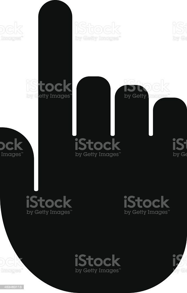 A hand cursor icon in black on white background vector art illustration