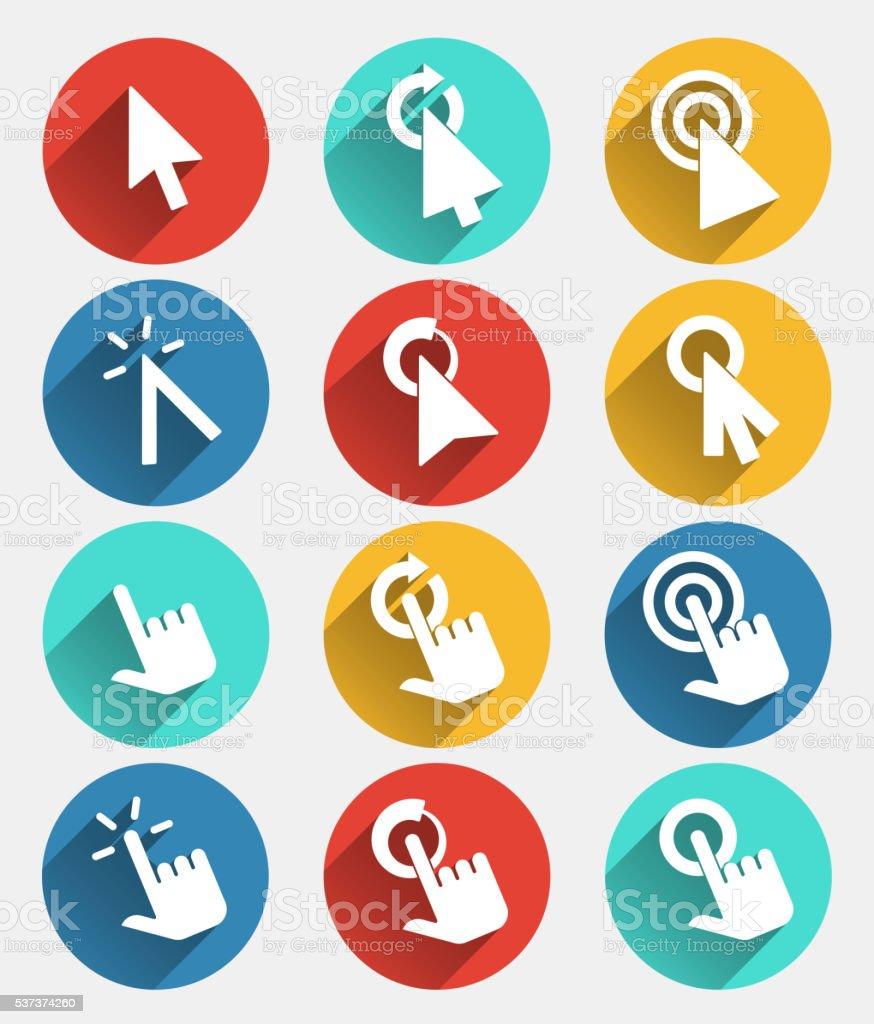 Hand Cursor Signs Arrow Pointer Symbols And Click Icons Stock Vector