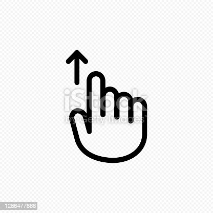 istock Hand cursor touch screen gestures icon. Swipe up icon. Vector on isolated transparent background. EPS 10 1286477666