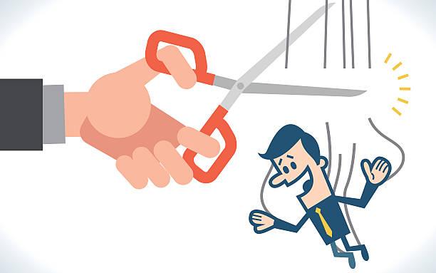 hand cutting the strings of a puppet businessman - strickideen stock-grafiken, -clipart, -cartoons und -symbole