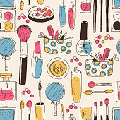 Hand darwn vector cosmetic seamless pattern. Cosmetic tools and