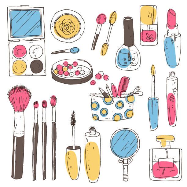 bildbanksillustrationer, clip art samt tecknat material och ikoner med hand darwn vektor kosmetiska uppsättning. kosmetiska verktyg och produkter, per - makeup artist