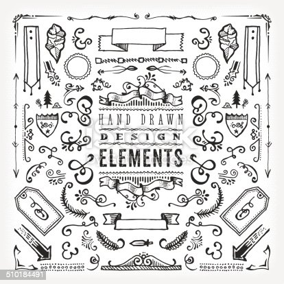 A set of assorted hand drawn design elements. EPS 10 file, no transparencies, layered & grouped,