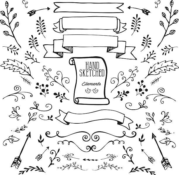 Hand Dawn Design Elements vector art illustration