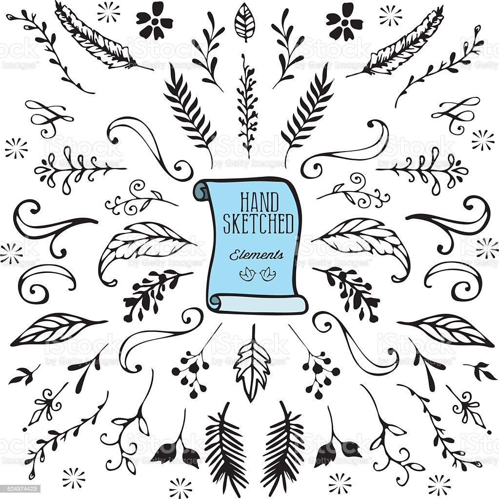 Hand Dawn Design-Elemente – Vektorgrafik