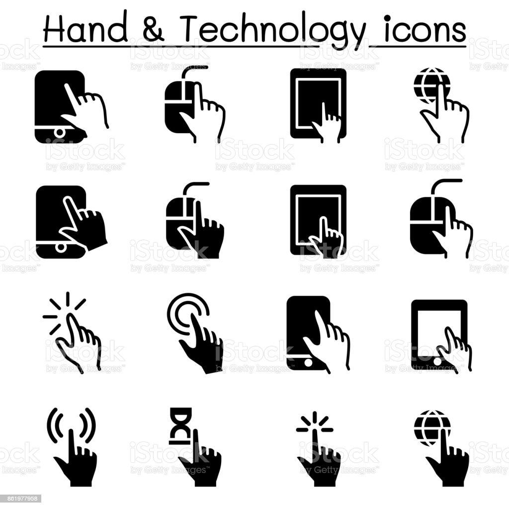 Hand & Digital Device icons vector art illustration