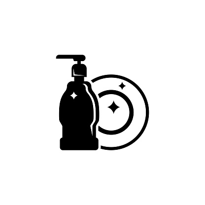 Hand Dishwashing Liquid with Clean Plate. Flat Vector Icon illustration. Simple black symbol on white background. Hand Dishwashing Liquid and Plate sign design template for web and mobile UI element.
