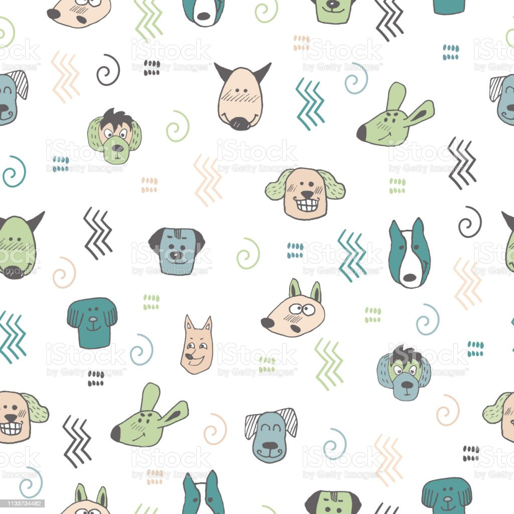 Hand doodle seamless pattern with funny dogs heads and abstract...