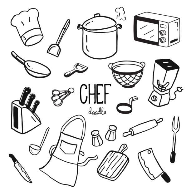 illustrations, cliparts, dessins animés et icônes de styles de doodle à la main pour les articles de chef. chef doodle. - cuisine