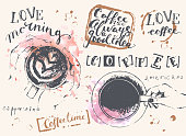 Hand drawn coffee set with cups and lettering on pink watercolor stains. Hand holding a cup of cappuccino and americano, top view. Coffee is always a good idea.