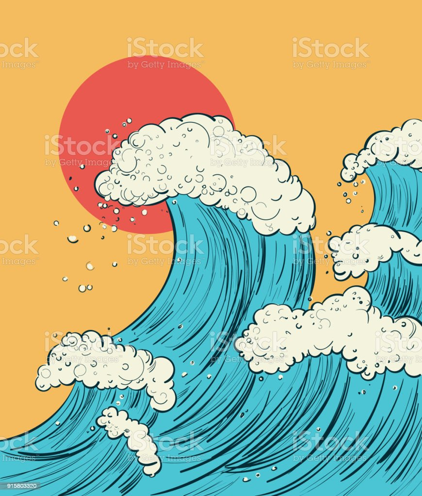 Hand draw a cartoon illustration of the wave in Japanese style. Vector digital drawing. - illustrazione arte vettoriale