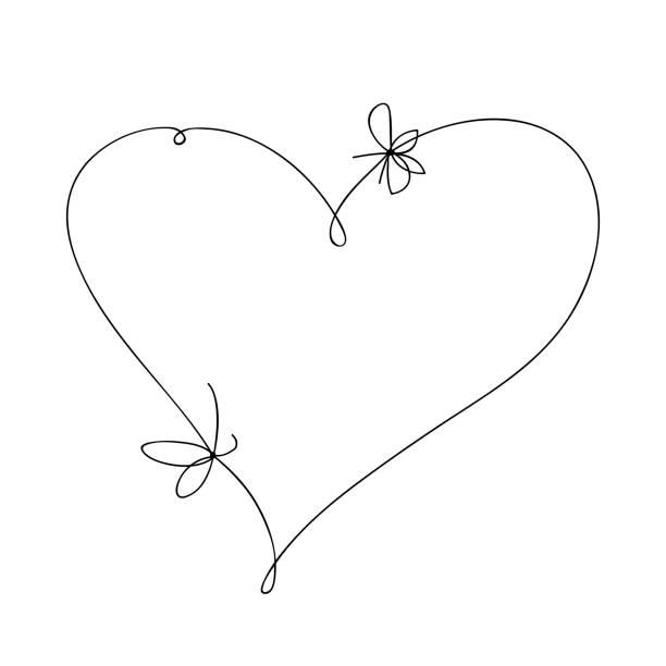 Hand ziehen sie ein Herz mit einem Bogen. Handgezeichnete Doodle-Vektor-Illustration in einer durchgehenden Linie. Linie Kunst dekoratives Design. – Vektorgrafik