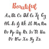 Hand draw alphabet. Uppercase and lowercase letters. Calligraphy font. Hand lettering. Vector illustration