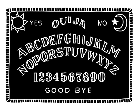 Hand draw black ouija board with the moon and the sun.