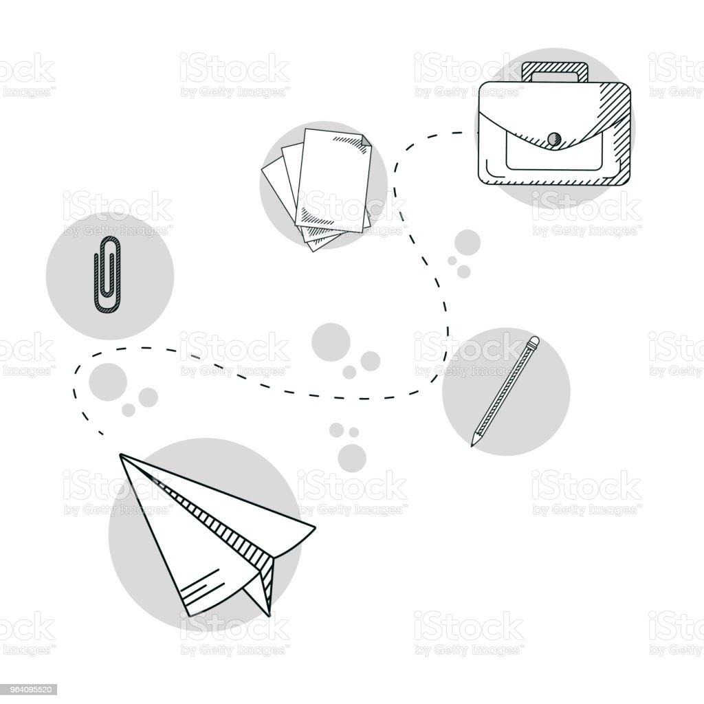 Hand draw business school - Royalty-free Art stock vector